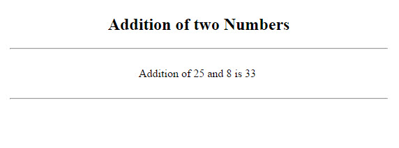 Output of Addition of two numbers